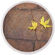 Together Yellow Maple Leaves Round Beach Towel