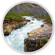 Tokuum Creek Flowing Into Marble Canyon In Kootenay Np-bc Round Beach Towel