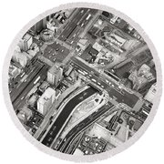 Tokyo Intersection Black And White Round Beach Towel