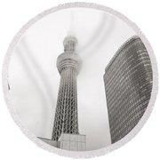 Tokyo Skytree In Clouds Round Beach Towel