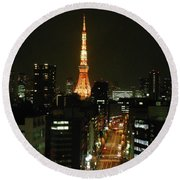 Tokyo Tower At Night Round Beach Towel