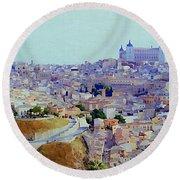 Toledo Spain In Blue Round Beach Towel
