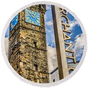 Tollbooth Clock Tower Glasgow Round Beach Towel