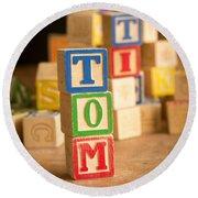 Tom - Alphabet Blocks Round Beach Towel