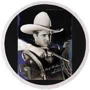 Tom Mix Portrait Melbourne Spurr Hollywood California C.1925-2013 Round Beach Towel