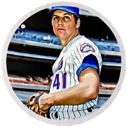 Tom Seaver Round Beach Towel