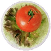 Tomato And Lettuce Round Beach Towel