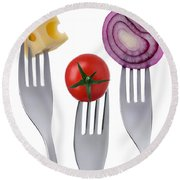 Tomato Cheese And Onion On Forks Against White Background Round Beach Towel