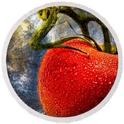 Tomato On A Vine Round Beach Towel