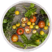 Tomatoes And Herbs Round Beach Towel