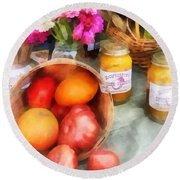 Tomatoes And Peaches Round Beach Towel