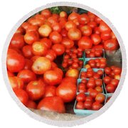 Tomatoes For Sale Round Beach Towel