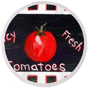 Tomatoes Market Sign Round Beach Towel
