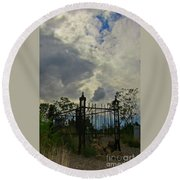 Tombstone Picture Perfect Halloween Image Round Beach Towel