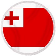 Tonga Flag Round Beach Towel
