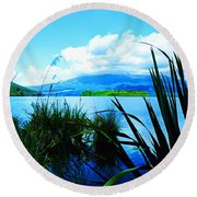 Tongariro National Park Oil On Canvas Round Beach Towel