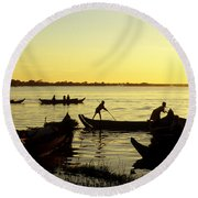 Tonle Sap Sunrise 05 Round Beach Towel