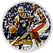 Tony Parker Painting Round Beach Towel