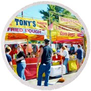 Tonys Concessions Potato Garlic Soup Bread Bowl Round Beach Towel
