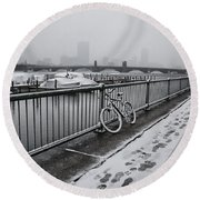 Too Cold To Cycle Round Beach Towel