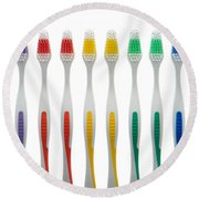 Toothbrushes Round Beach Towel