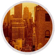 Top Of Manhattan Round Beach Towel