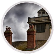 Top Of Point Fermin Lighthouse Round Beach Towel