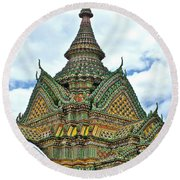 Top Of Temple In Wat Po In Bangkok-thailand Round Beach Towel