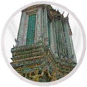 Top Of Temple Of The Dawn-wat Arun In Bangkok-thailand Round Beach Towel
