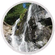 Top Part Of Silver Falls Round Beach Towel
