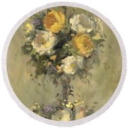 Topiary Bouquet 1 Round Beach Towel