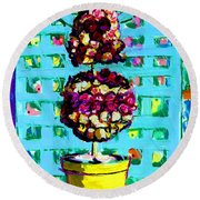 Topiary Of Dried Roses Round Beach Towel