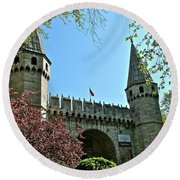 Topkapi Palace Wall And Gate In Istanbul-turkey Round Beach Towel