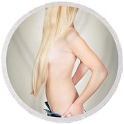 Topless Beauty Round Beach Towel