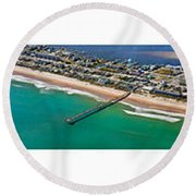 Topsail Island Aerial Panels Round Beach Towel