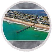 Topsail Island Aerial Panels II Round Beach Towel