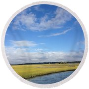 Topsail Island Icw Round Beach Towel