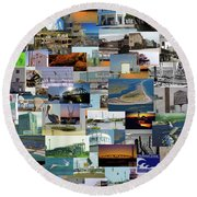 Topsail Island Nc Collage  Round Beach Towel