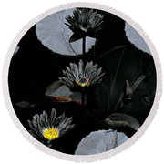Torchlight Water Flowers Round Beach Towel