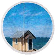 Torekov Beach Hut Painting Round Beach Towel