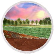 Torn Paper Fields Of Green And Brown Round Beach Towel