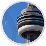 Toronto Cn Tower Moon And Jet Trail Round Beach Towel