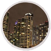 Toronto Condos On A Cold Winter Night Round Beach Towel