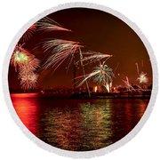 Toronto Fireworks Round Beach Towel