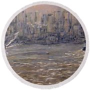 Toronto Harbor Morning Round Beach Towel