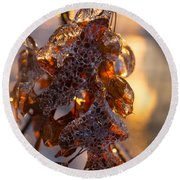Toronto Ice Storm 2013 - Oak Leaves Jewelry Round Beach Towel