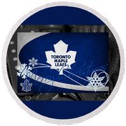 Toronto Maple Leafs Christmas Round Beach Towel