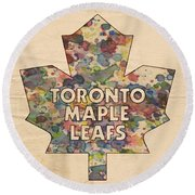 Toronto Maple Leafs Hockey Poster Round Beach Towel