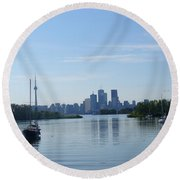 Toronto Skyline From Tommy Thompson Park Round Beach Towel