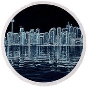 Toronto Skyline In Blue Round Beach Towel
